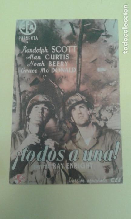 TODOS A UNA RANDOLPH SCOTT ORIGINAL C.P. CINE RIALTO (Cine - Folletos de Mano - Bélicas)