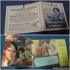 Cine: FOLLETO DOBLE SHERLOCK HOLMES EN WASHINGTON 1943 CON PUBLICIDAD. Lote 238265890