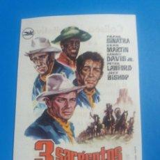 Flyers Publicitaires de films Anciens: 3 SARGENTOS CON PUBLICIDAD COLISEO EQUITATIVA ZARAGOZA. Lote 238269565