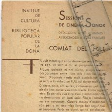 Cine: 1935/36 INSTITUT DE CULTURA I BIBLIOTECA POPULAR DE LA DONA SESSIONS CINEMA, REBELDE SHIRLEY TEMPLE. Lote 238428715