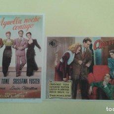 Cine: AQUELLA NOCHE CONTIGO FRANCHOT TONE 2 ORIGINALES 1 S.P. Y EL OTRO C.P MALAGA CINEMA. Lote 238541090