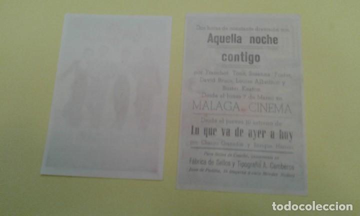 Cine: AQUELLA NOCHE CONTIGO FRANCHOT TONE 2 ORIGINALES 1 S.P. Y EL OTRO C.P MALAGA CINEMA - Foto 2 - 238541090