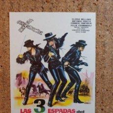 Flyers Publicitaires de films Anciens: FOLLETO DE MANO DE LA PELICULA LAS 3 ESPADAS DEL ZORRO. Lote 238796380