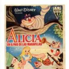 Foglietti di film di film antichi di cinema: ALICIA EN EL PAÍS DE LAS MARAVILLAS.. Lote 238882410