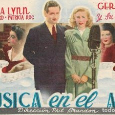 Flyers Publicitaires de films Anciens: PN - PROGRAMA DE CINE - MÚSICA EN EL AIRE - VERA LYNN, RONALD WARD - CINE MARIA CRISTINA (GIJÓN). Lote 239557510