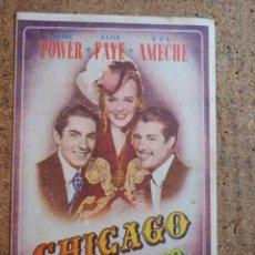 Cine: FOLLETO DE MANO DOBLE DE LA PELICULA CHICAGO CON PUBLICIDAD. Lote 239834735