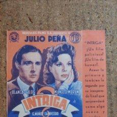Cine: FOLLETO DE MANO DOBLE DE LA PELICULA INTRIGA. Lote 239839435