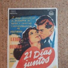 Cine: FOLLETO DE MANO DE LA PELICULA 21 DIAS JUNTOS. Lote 239840805