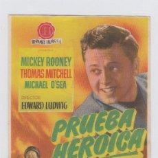 Flyers Publicitaires de films Anciens: PRUEBA HERÓICA. PROGRAMA DE CINE SENCILLO CON PUBLICIDAD. CINE GADES. CÁDIZ.. Lote 239873105