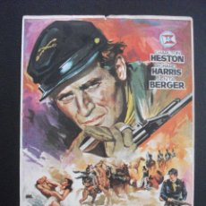Foglietti di film di film antichi di cinema: MAYOR DUNDEE, CHARLTON HESTON , CINE VERANO DE JÁTIVA, 1967. Lote 239939325