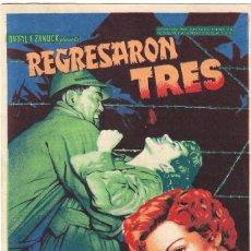 Flyers Publicitaires de films Anciens: PN - PROGRAMA DE CINE - REGRESARON TRES - CLAUDETTE COLBERT - CINE GOYA (MÁLAGA) - 1950.. Lote 240488830