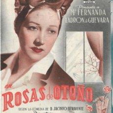 Foglietti di film di film antichi di cinema: PN - PROGRAMA DOBLE - ROSAS DE OTOÑO - Mª FERNANDA LADRÓN DE GUEVARA - COLISEO FERNANDO E YSABEL. Lote 240589005