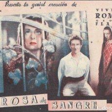 Flyers Publicitaires de films Anciens: PN - PROGRAMA DOBLE - ROSA DE SANGRE - VIVIANNE ROMANCE - CINE ECHEGARAY (MÁLAGA) - 1939.. Lote 240591255