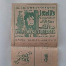 Flyers Publicitaires de films Anciens: PROGRAMA CINE JOSELITO EL PEQUEÑO RUISEÑOR CANCIONES EN EL REVERSO GRANDE TIPO CARTEL RV. Lote 240937270