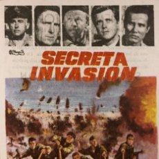 Flyers Publicitaires de films Anciens: PROGRAMA DE CINE - SECRETA INVASIÓN - CINEMA VICTORIA - SANT FELIU DE GUIXOLS - AÑO 1966. Lote 241054545