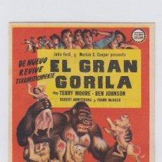 Flyers Publicitaires de films Anciens: EL GRAN GORILA. PROGRAMA DE CINE SENCILLO CON PUBLICIDAD. CINE GADES. CÁDIZ.. Lote 241103005