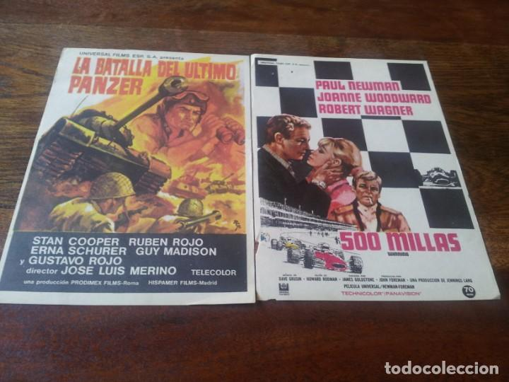 LOTE 2 FOLLETOS DE MANO - 500 MILLAS, LA BATALLA DEL ULTIMO PANZER - SIN PUBLICIDAD (Cine - Folletos de Mano - Deportes)