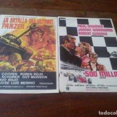 Cine: LOTE 2 FOLLETOS DE MANO - 500 MILLAS, LA BATALLA DEL ULTIMO PANZER - SIN PUBLICIDAD. Lote 241121910