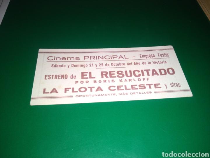 Cine: Antiguo programa de cine troquelado. El resucitado, por Boris Karloff. Cinema Principal. Emp. Fuster - Foto 2 - 241841090