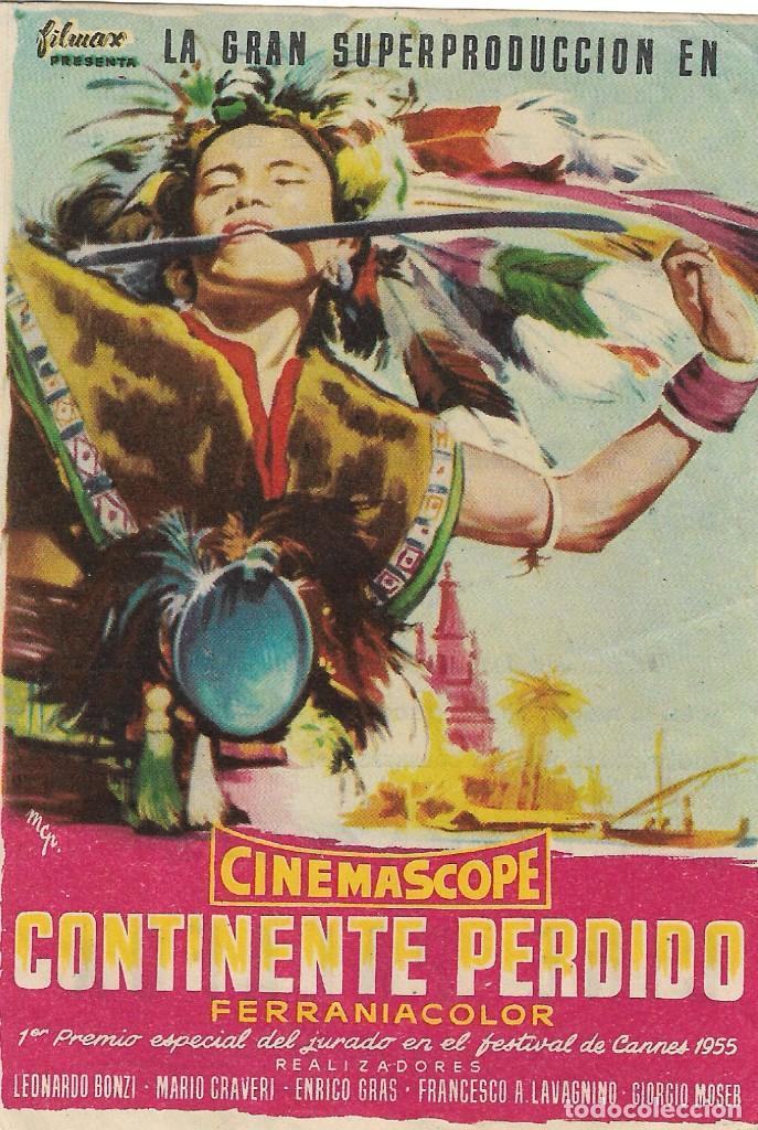 PN - PROGRAMA DE CINE - CONTINENTE PERDIDO - LEONARDO BONZI - CINE PALAFOX (ZARAGAOZA) - 1955. (Cine - Folletos de Mano - Documentales)
