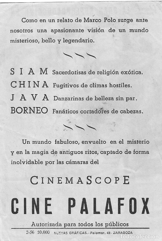 Cine: PN - PROGRAMA DE CINE - CONTINENTE PERDIDO - LEONARDO BONZI - CINE PALAFOX (Zaragaoza) - 1955. - Foto 2 - 257504060