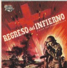 Flyers Publicitaires de films Anciens: PN - PROGRAMA DE CINE - REGRESO DEL INFIERNO - AUDIE MURPHY - CINE COSO (ZARAGOZA) - 1958.. Lote 241872110