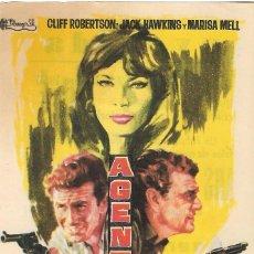 Flyers Publicitaires de films Anciens: PN - PROGRAMA DE CINE - AGENTES DOBLES - CLIFF ROBERTSON, JACK HAWKINS - CINE AVENIDA (VILLENA) 1966. Lote 241886135