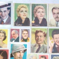 Flyers Publicitaires de films Anciens: ANTIGUOS CROMOS DE ACTORES DE CINE.METRO GOLDWIN MAYER.CINE FOTO BRUGUERA.MUY BUEN ESTADO,SALVO 2.. Lote 241963540