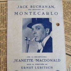 Foglietti di film di film antichi di cinema: PROGRAMA DE CINE DOBLE. MONTECARLO. AÑO 1931. Lote 242169415