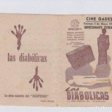 Cine: LAS DIABÓLICAS PROGRAMA DE CINE DOBLE CON PUBLICIDAD. CINE GADES. CÁDIZ.. Lote 242491960