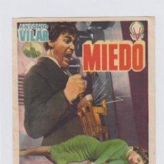 Cine: MIEDO. PROGRAMA DE CINE SENCILLO SIN PUBLICIDAD.. Lote 242493575