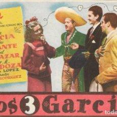Foglietti di film di film antichi di cinema: PROGRAMA DE CINE - LOS 3 GARCIA - SARA GARCIA, PEDRO INFANTE - 1947 - SIN PUBLICIDAD.. Lote 257505125