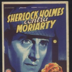 Cine: P-6044- SHERLOCK HOLMES CONTRA MORIARTY (SOLIGÓ) (CINE MORAN - PONFERRADA) BASIL RATHBONE. Lote 243218700