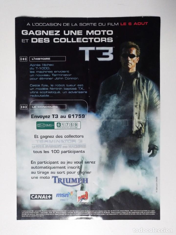 Cine: FOLLETO TERMINATOR 3 LA REBELIÓN DE LAS MÁQUINAS 2003 VERSIÓN FRANCESA SCHWARZENEGGER FRANCE TRIUMPH - Foto 2 - 243251570
