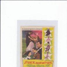 Foglietti di film di film antichi di cinema: EL AMOR NACIÓ EN PARIS. PROGRAMA DE CINE SENCILLO CON PUBLICIDAD. CINE GADES. CÁDIZ.. Lote 243253390