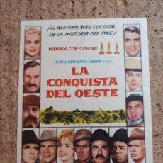 Cine: FOLLETO DE MANO DE LA PELICULA LA CONQUISTA DEL OESTE. Lote 243862710