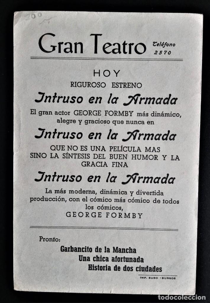 Cine: FOLLETO CINE INTRUSO EN LA ARMADA GEORGE FORMBY GRAN TEATRO BURGOS - Foto 2 - 244388745