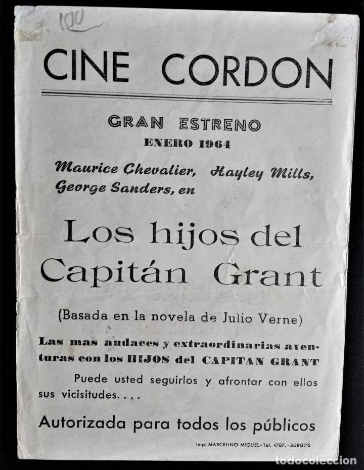Cine: FOLLETO CINE LOS HIJOS DEL CAPITAN GRANT MAURICE CHEVALIER MADRID CORDON BURGOS - Foto 2 - 244407375