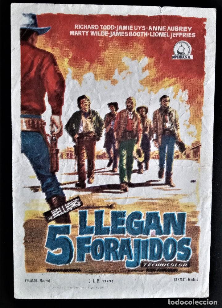 FOLLETO CINE LLEGAN 5 FORAJIDOS RICHARD TOOD CORDON BURGOS (Cine - Folletos de Mano - Acción)