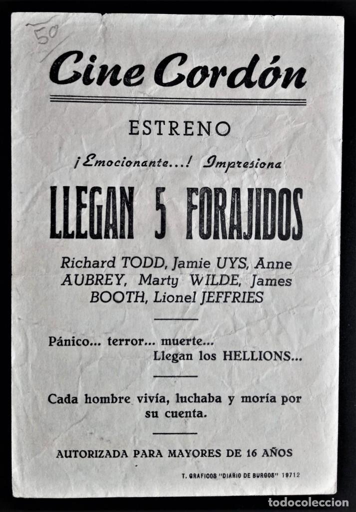 Cine: FOLLETO CINE LLEGAN 5 FORAJIDOS RICHARD TOOD CORDON BURGOS - Foto 2 - 244407880