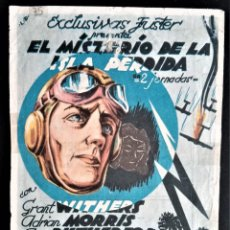 Cine: FOLLETO CINE EL MISTERIO DE LA ISLA PERDIDA GRANT WITHERS NUEVO TATRO VITORIA. Lote 244410535