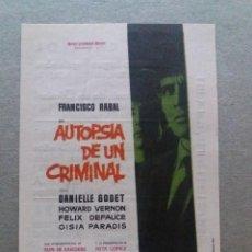 Foglietti di film di film antichi di cinema: AUTOPSIA A UN CRIMINAL CON PUBLICIDAD CINE CAPITOL MÁLAGA. Lote 244577510