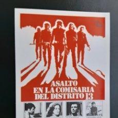 Cine: ASALTO EN LA COMISARÍA DEL DISTRITO 13, JOHN CARPENTER, IMPRESO EN LOS AÑOS 80. Lote 244704340
