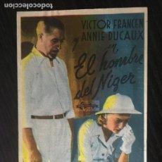 Cine: EL HOMBRE DEL NÍGER - PROGRAMA DE CINE MALGRAT C/P 1943. Lote 244758340