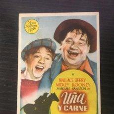 Foglietti di film di film antichi di cinema: UÑA Y CARNE - PROGRAMA DE CINE CANET DE MAR - SANT POL DE MAR C/P 1946. Lote 244797145