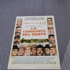 Flyers Publicitaires de films Anciens: PROGRAMA DE MANO ORIG - LA CONQUISTA DEL OESTE - CON CINE DE MÁLAGA AL DORSO. Lote 244858215