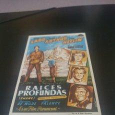 Flyers Publicitaires de films Anciens: PROGRAMA DE MANO ORIG - RAICES PROFUNDAS - CON CINE FRAGA AL DORSO. Lote 244869355