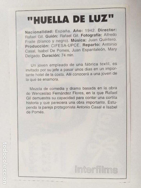 Cine: FOLLETO. HUELLA DE LUZ. ANTONIO CASAL, ISABEL DE POMES. SINOPSIS AL DORSO. INTERFILMS. - Foto 2 - 245054125