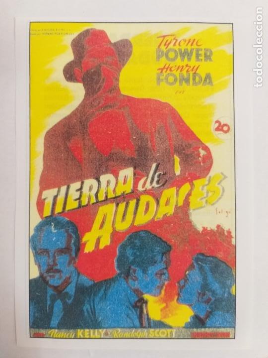 FOLLETO DE MANO: TIERRA DE AUDACES. TYRONE POWER Y HENRY FONDA. SINOPSIS AL DORSO. INTERFILMS. (Cine - Folletos de Mano - Acción)
