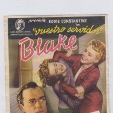 Cine: VUESTRO SERVIDOR BLAKE. PROGRAMA DE CINE SENCILLO CON PUBLICIDAD. TEATRO ANDALUCIA. CÁDIZ.. Lote 245455235